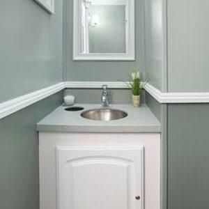 interior of bathroom stall