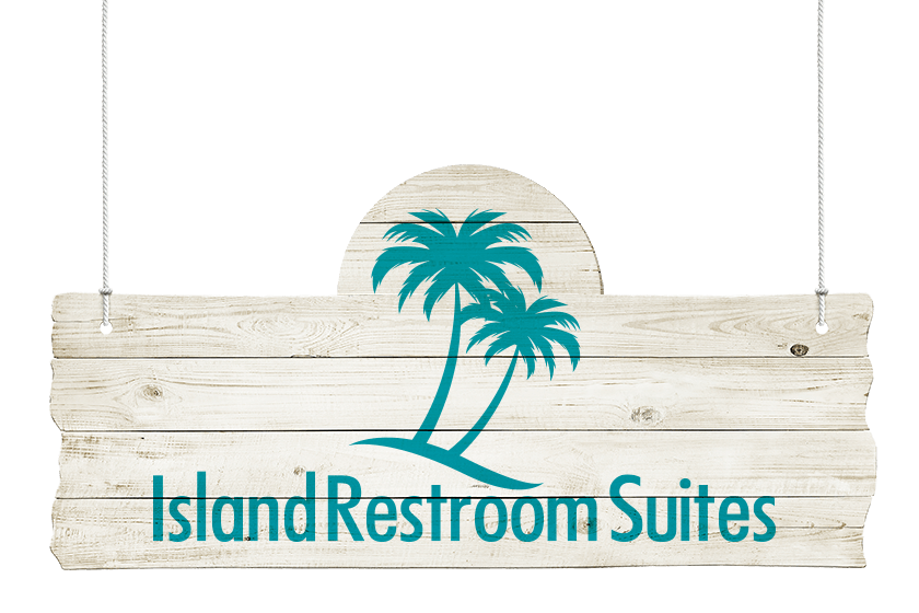 Island restrooms logo on sign