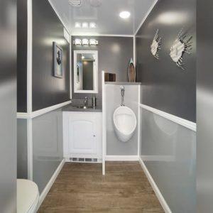 Island décor designer interior of bathroom stall