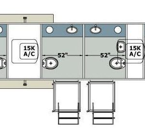 Restroom line drawing of trailer