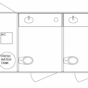 Restroom line drawing of trailer