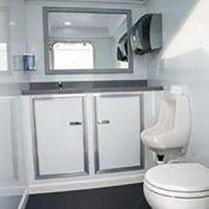 Interior of restroom trailer