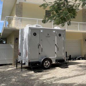 exterior of restroom trailer