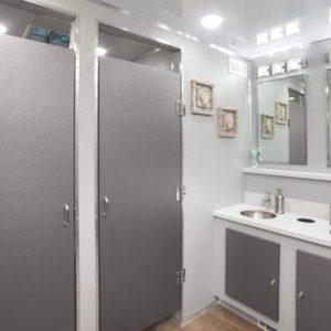Commercial gray restroom