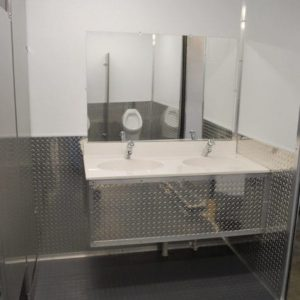 commercial sinks with diamond-plated design